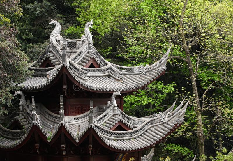 Traditional clay roof of ancient chinese Lingyin temple,closeup. royalty free stock images