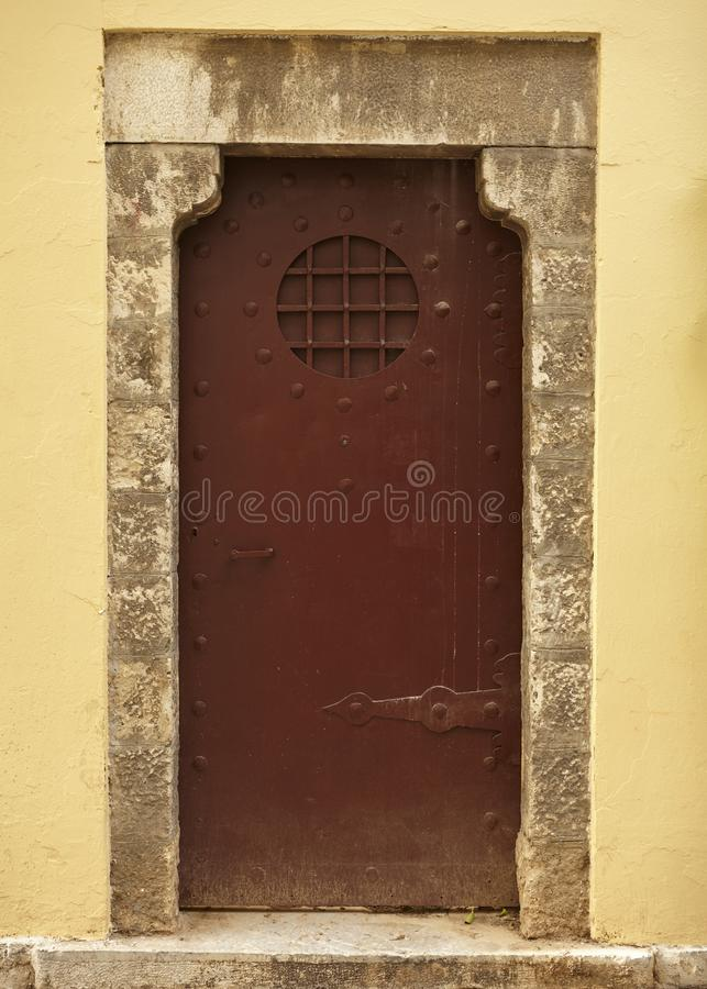 Traditional closed door at plaka Athens stock images