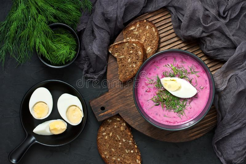 Traditional cold beet soup with vegetables stock photo