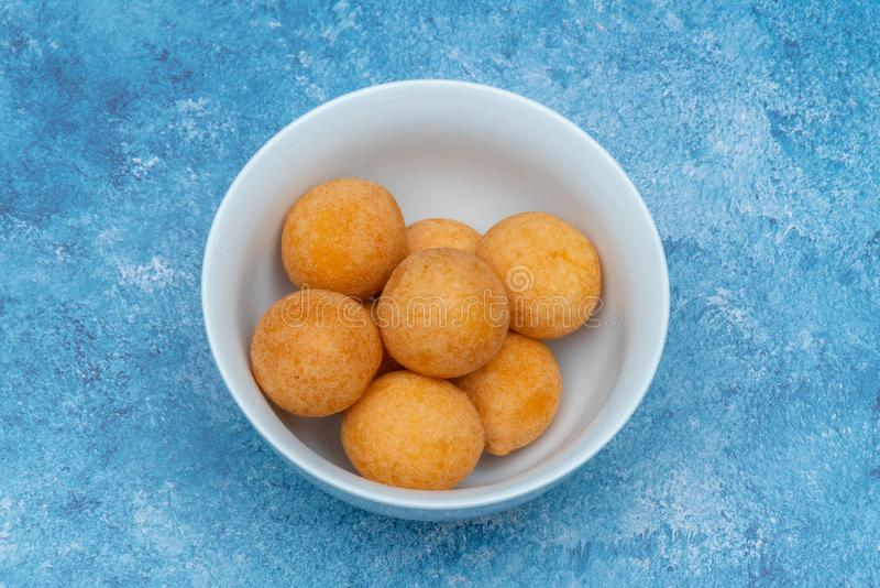 Traditional Colombian buñuelo, Homemade food stock photography