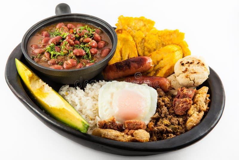 Traditional Colombian dish called Banda paisa royalty free stock photos