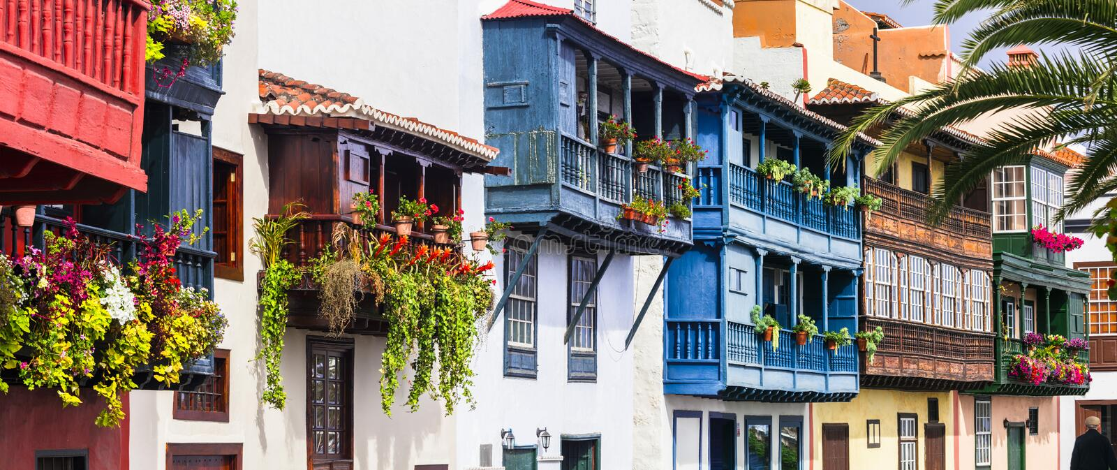 Traditional colonial architecture of Canary islands . capital of La palma - Santa Cruz with colorful balconies royalty free stock image
