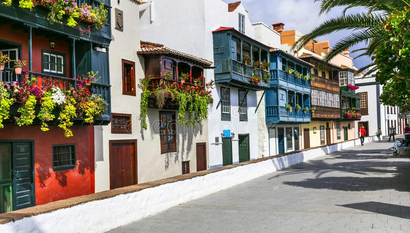 Traditional colonial architecture of Canary islands . capital of La palma - Santa Cruz with colorful balconies stock photos