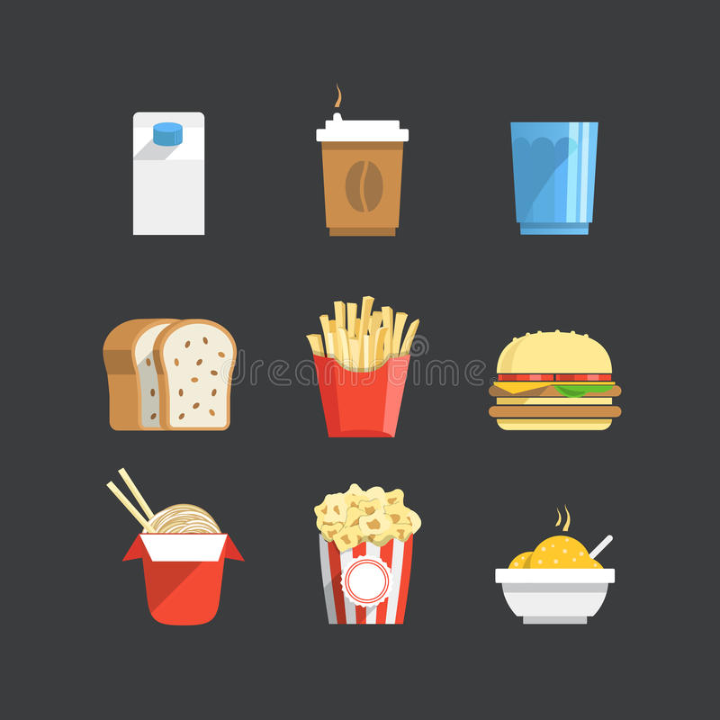 Traditional color food icons