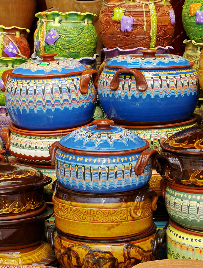 Ceramic from Bulgaria. Traditional bulgarian colored pottery stock photo