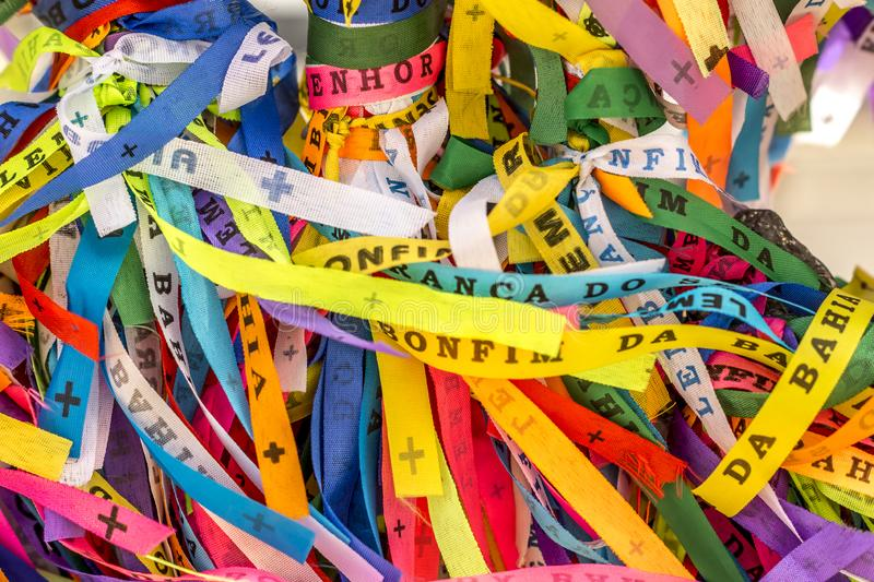 Traditional colored ribbons called Bonfim in Bahia, Brazil royalty free stock photography