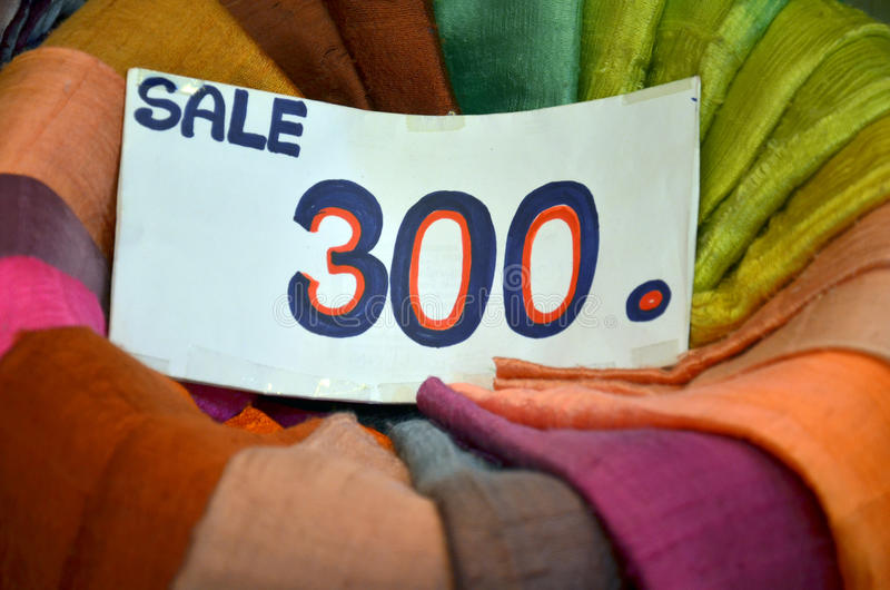 Traditional colored textile on sale stock image