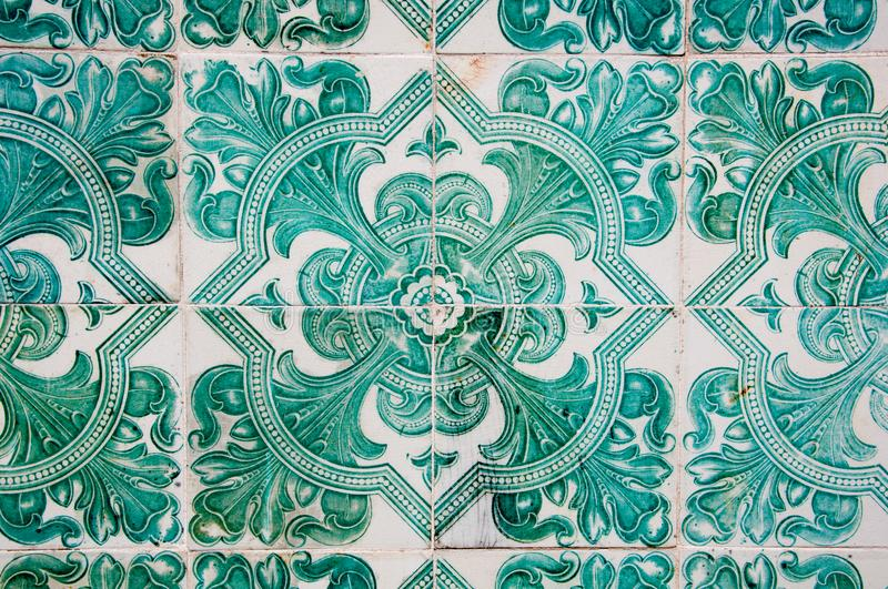 Traditional colorful azulejos in Lisbon, Portugal - Green tiles stock photos