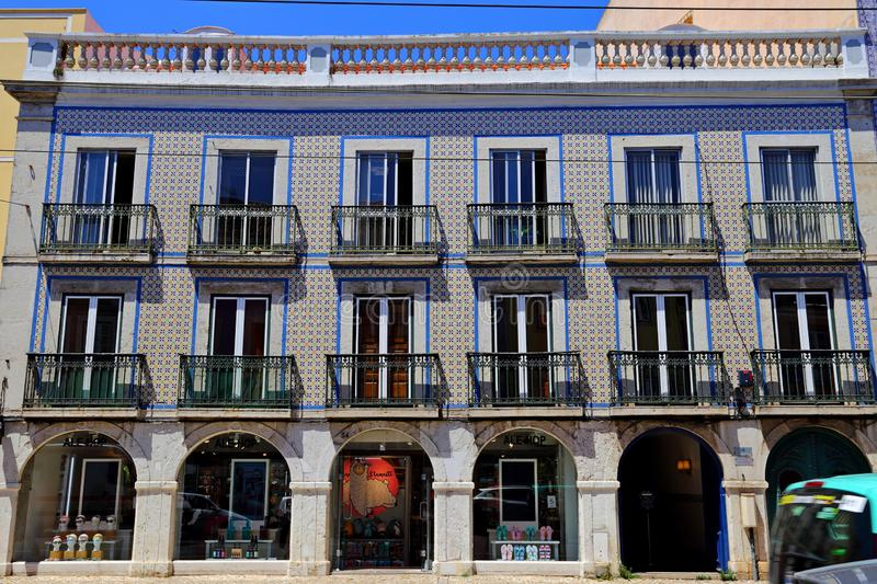 Traditional colorful buildings with azulejo tiles facade in the old Lisbon neighborhoods. Portugal stock photo