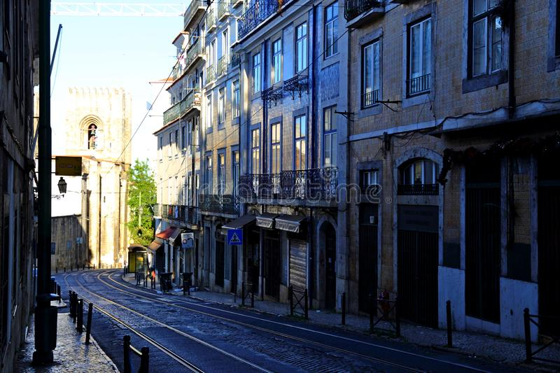 Traditional colorful buildings with azulejo tiles facade in the old Lisbon neighborhoods. Portugal royalty free stock photography