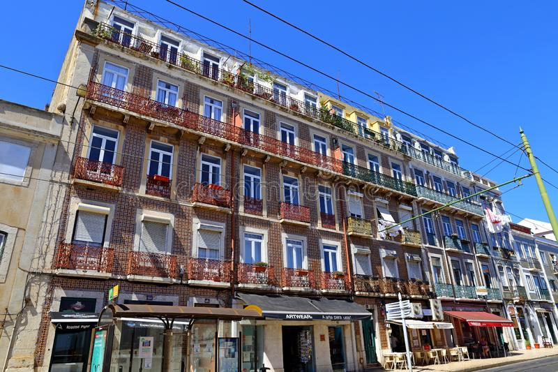 Traditional colorful buildings with azulejo tiles facade in the old Lisbon neighborhoods. Portugal royalty free stock photos