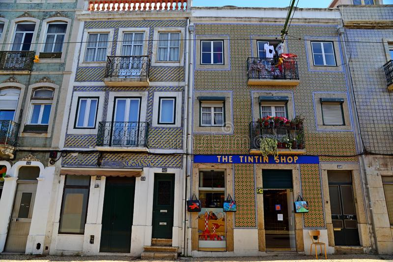 Traditional colorful buildings with azulejo tiles facade in the old Lisbon neighborhoods. Portugal royalty free stock image