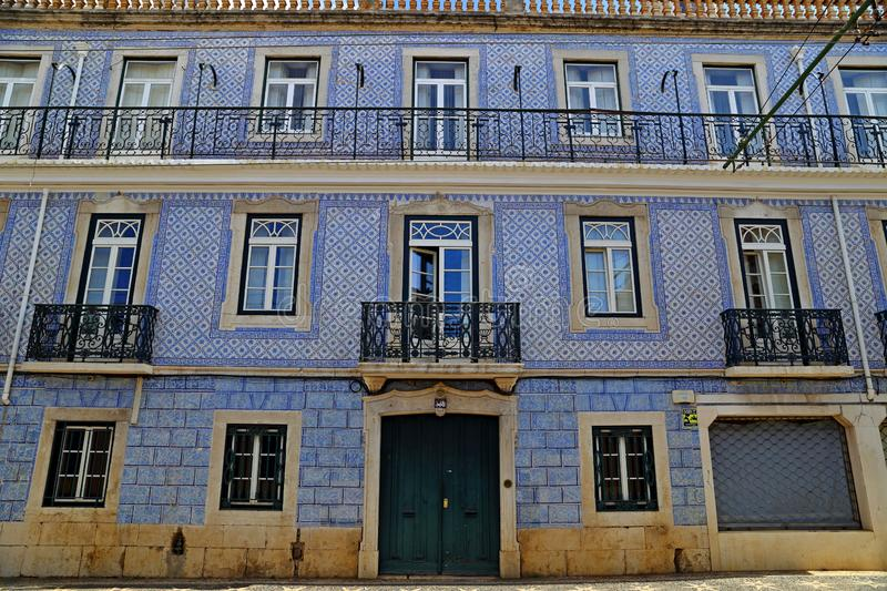 Traditional colorful buildings with azulejo tiles facade in the old Lisbon neighborhoods. Portugal stock photos