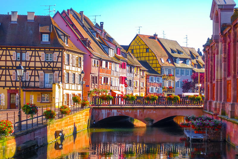 Traditional colorful half-timbered buildings in the old town of Colmar, Alsace France royalty free stock photography