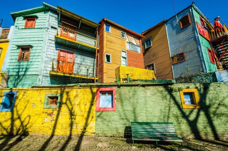 Traditional colorful houses on Caminito in La Boca, Buenos Aires. Traditional colorful houses on Caminito street in La Boca royalty free stock images