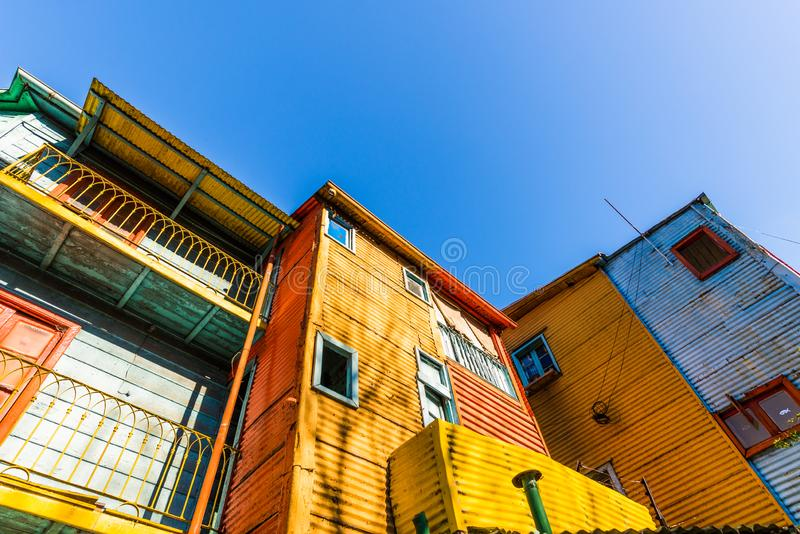 Traditional colorful houses on Caminito in La Boca neighborhood, Buenos Aires. Traditional colorful houses on Caminito in La Boca neighborhood, Buenos Aires stock photo