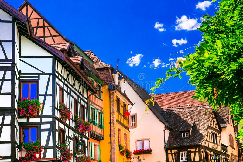 Colorful traditional villages of Alsace in France royalty free stock photo