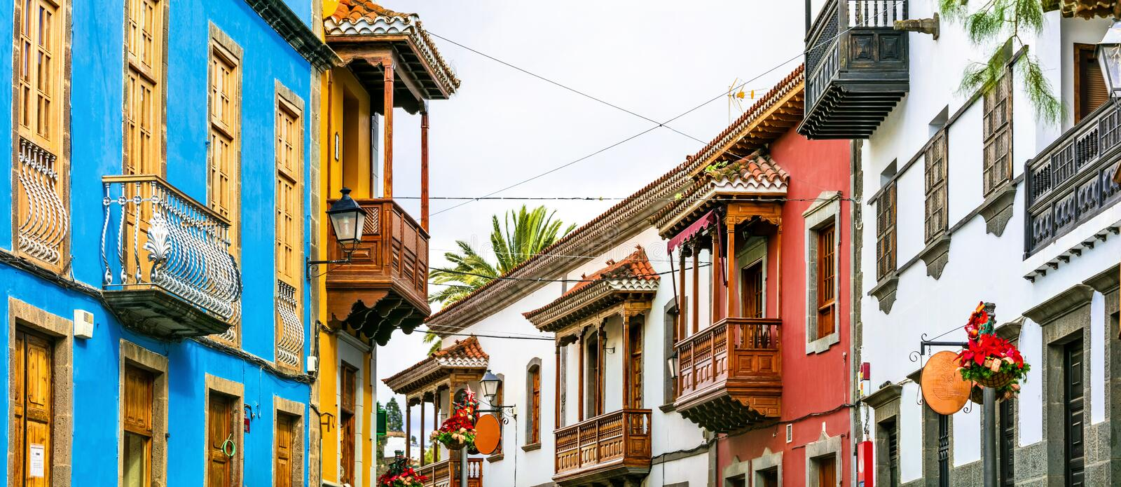 Teror - beautiful traditional town with colorful houses in Gran Canaria. Canary islands stock photo
