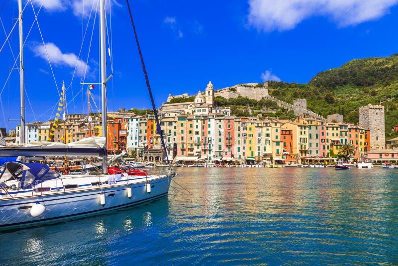 Traditional colorful houses and yacths,Portovenere village,Liguria,Italy. stock image