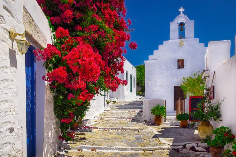 Traditional colorful mediterranean street with flowers and church, Cyclades, Greece royalty free stock photography