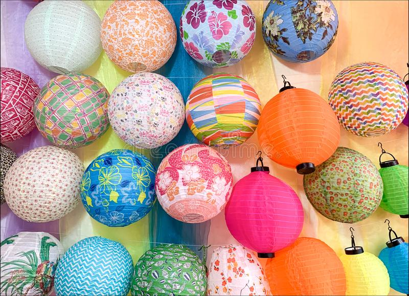 Traditional colorful sphere paper lanterns for sale royalty free stock photos