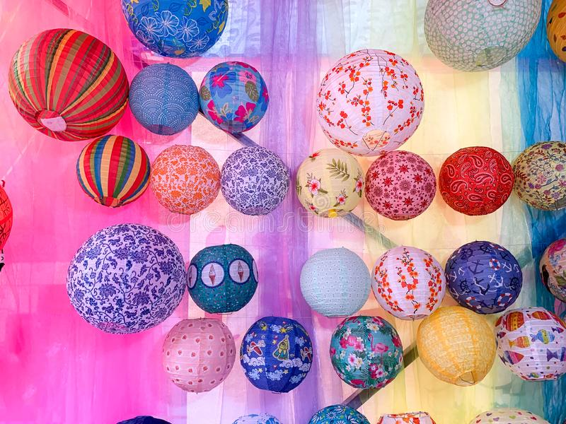 Traditional colorful sphere paper lanterns for sale royalty free stock photo