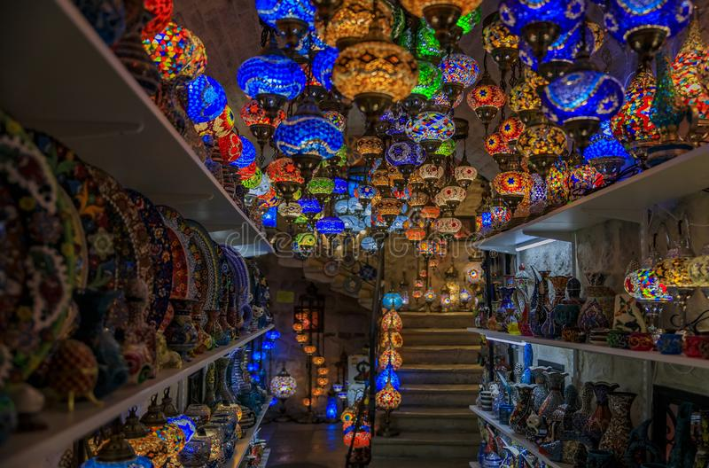 Traditional colorful Turkish oriental lamps and ceramics for sale in at a souvenir shop in Kotor old town in Montenegro. Traditional colorful decorative stock photos