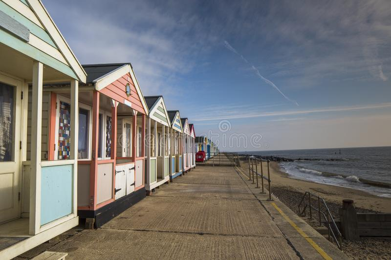 Beach huts in southwold, england stock photo