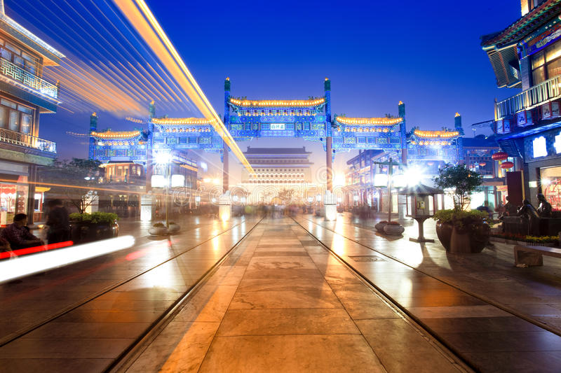 Download Traditional Commercial Street At Night In Beijing Stock Image - Image: 21498505