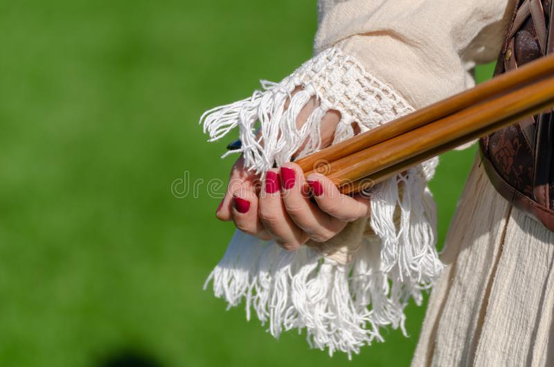 Traditional Competitions. Traditional archery equipment royalty free stock images