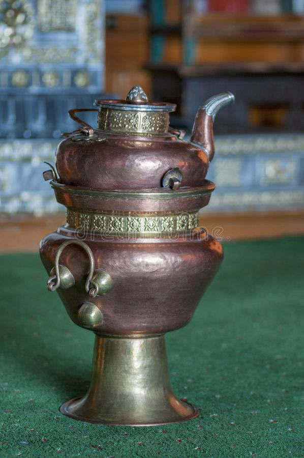 Traditional copper tea pot, Ladakh, Jammu and Kashmir, India royalty free stock photo