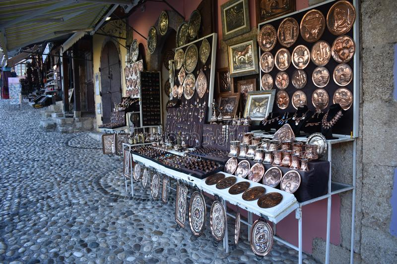 The traditional copperware and tinware. Sell in the a souvenir shop in Mostar,Bosnia and Herzegovina stock image