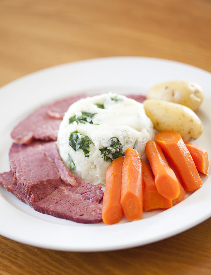 Traditional Corned Beef Dinner royalty free stock photography