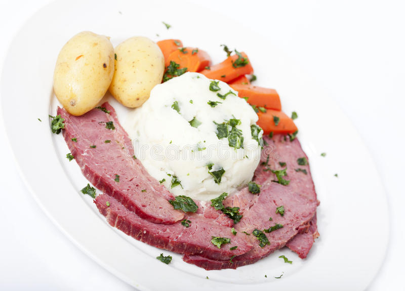 Traditional Corned Beef Dinner stock image