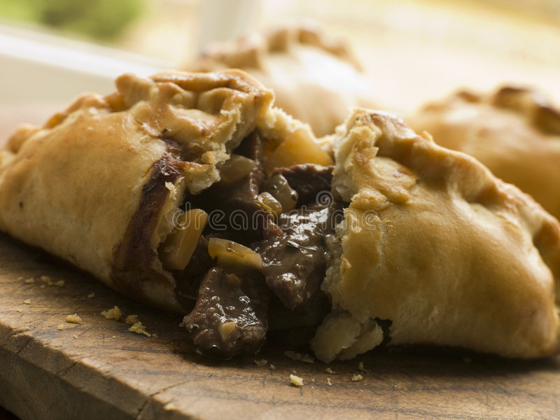 Traditional Cornish Pasty broken open royalty free stock photo