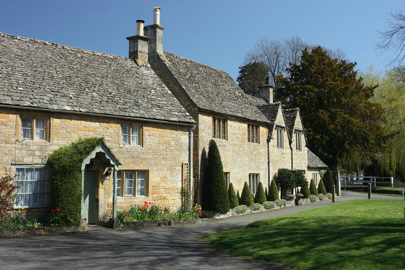 Traditional cottages in Lower Slaughter, Cotswolds. UK royalty free stock photos