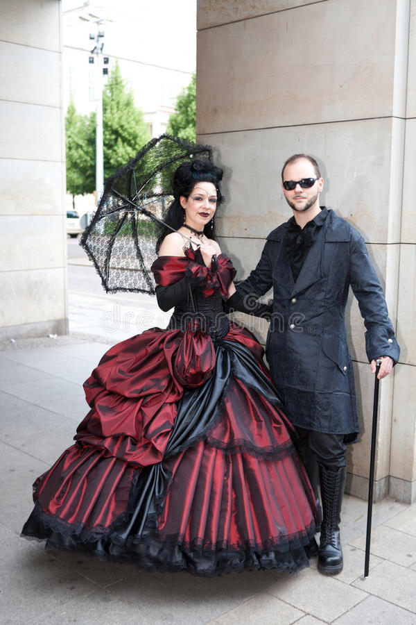 Traditional couple at Wave-Gotik-Treffen royalty free stock photo