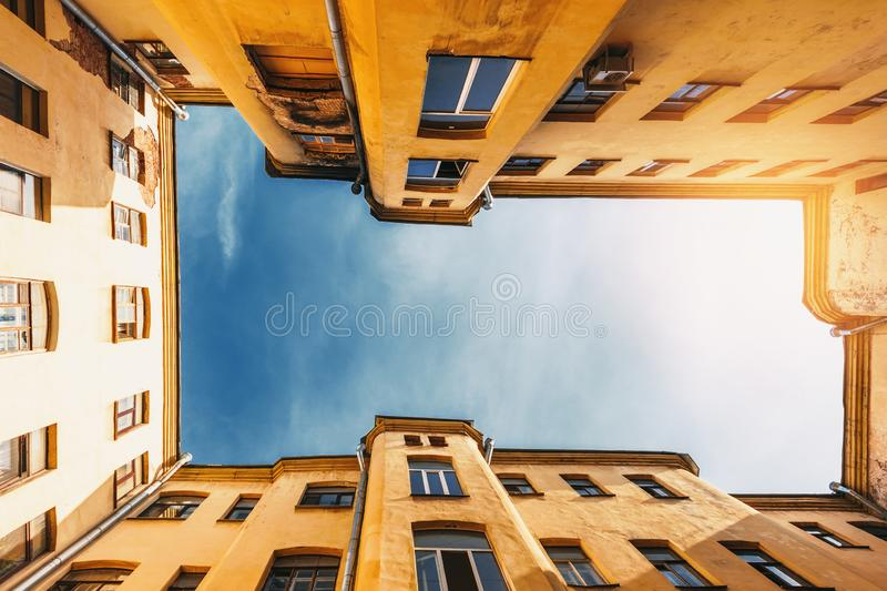 Traditional court yard well in Saint-Petersburg, Russia. Bottom up view royalty free stock image