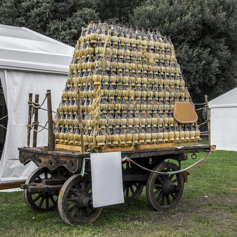 The traditional `Crazy Wagon` with flasks stock image