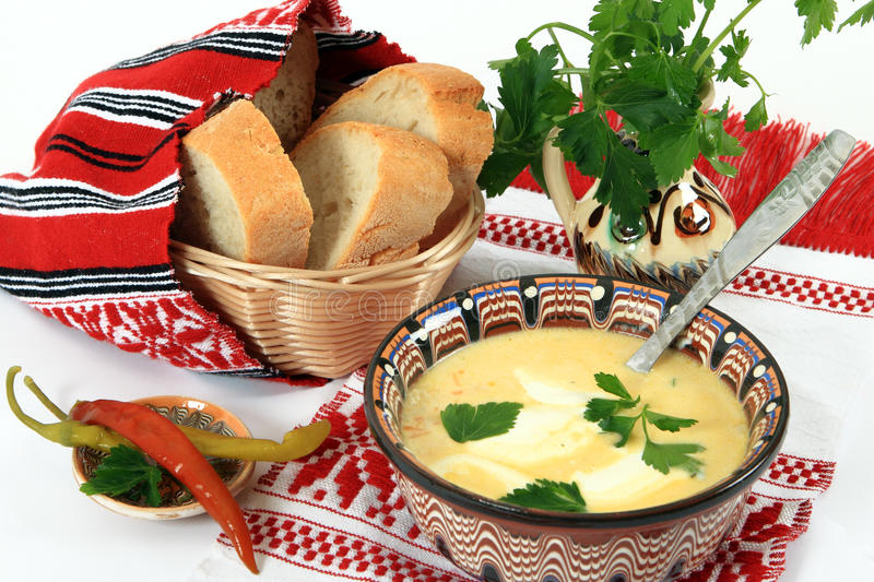 Traditional cuisine from Romania: tripe soup stock photos