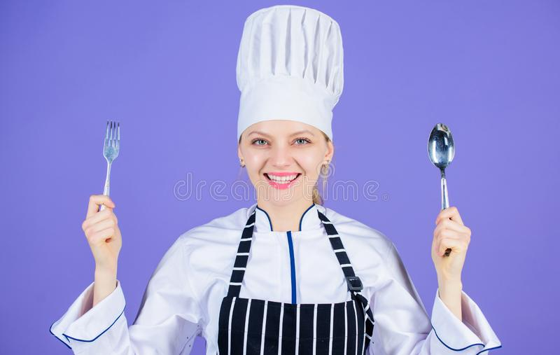Traditional culinary meal. Professional cook and cooking at home. Tasty homemade food. Time to try meal. She is hungry stock photo