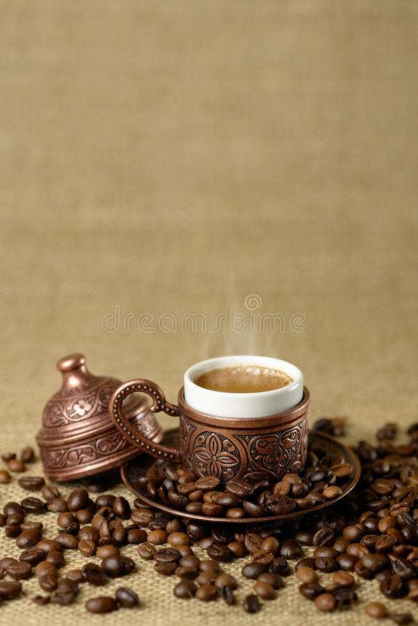 A traditional cup of turkish coffee stock image