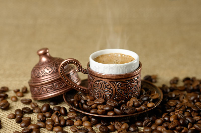 A traditional cup of turkish coffee stock photo