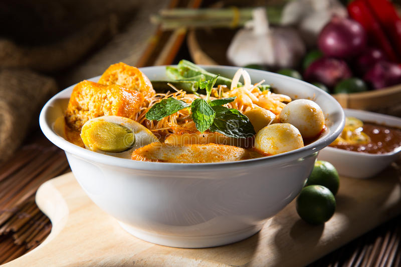 Traditional curry spicy noodle soup. Curry Laksa which is a popular traditional spicy noodle soup from the culture in Malaysia stock photos