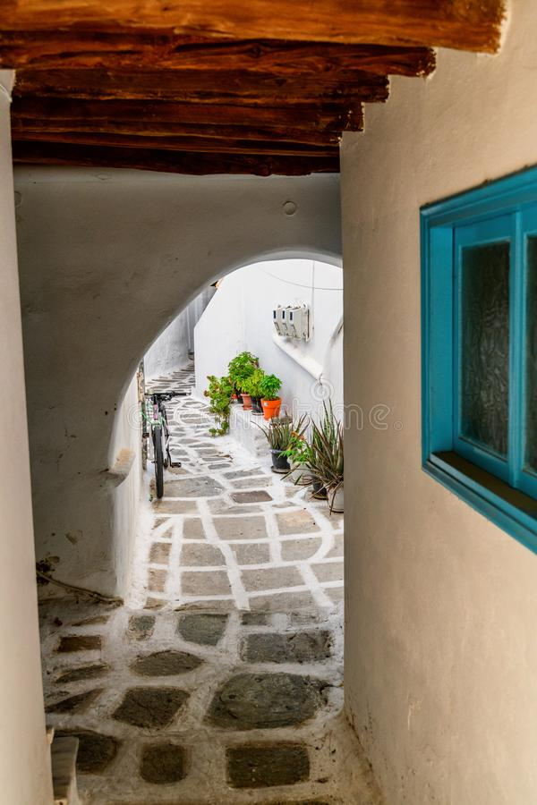 Traditional cyclades architecture on Island of Paros, Naoussa village. Greece royalty free stock photo