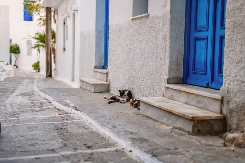 Traditional cyclades architecture on Island of Paros, Naoussa village. Greece royalty free stock images
