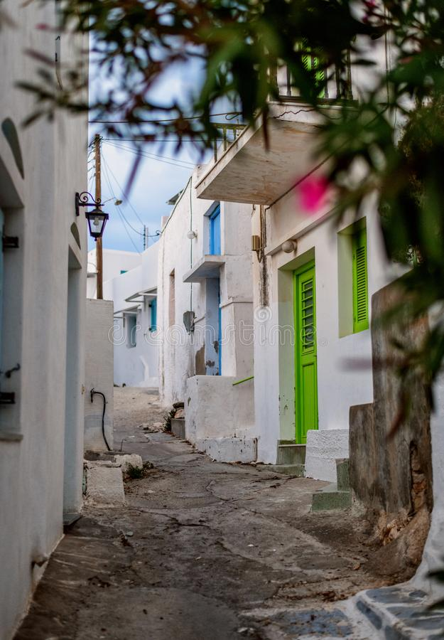 Traditional cyclades architecture on Island of Paros, Naoussa village. Greece royalty free stock image