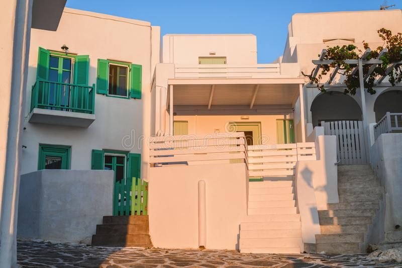 Traditional cyclades architecture on Island of Paros, Naoussa village. Greece stock images