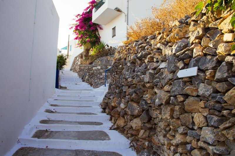 Traditional Cycladic steps that lead to a house royalty free stock photography