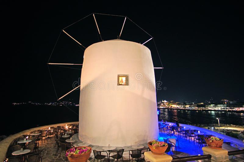 Traditional cycladic windmill at night in Parikia on the island of Paros, Cyclades royalty free stock images